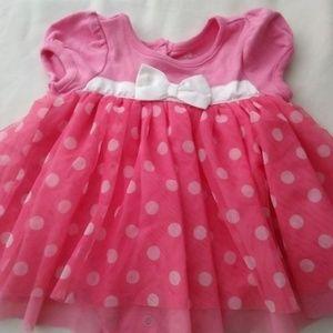 Girls DisneyPink Polka Dot Dress Size 3-6 Months